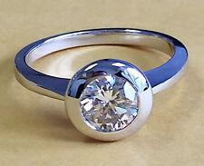 14k White Gold Round Cut Diamond Engagement Ring Bezel Set Deco Bridal 0.75ctw