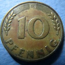 """*GERMANY, """"Scarce""""  1950-D  10 PFENNIG  COIN, Very Fine Circulated, NICE COIN"""