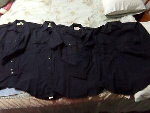4 Long Short Sleeve Black Uniform Work Shirts Elbeco Flying Cross Battle 15x32