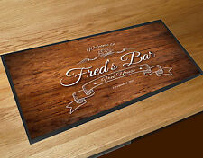 Personalised Wood Effect Boat Beer Label bar runner Pubs & Cocktail Bars Bar Mat