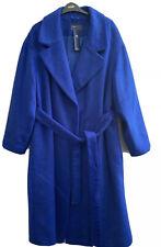 BNWT Marks & Spencer Ladies Blue Wool Blend Coat Size 18