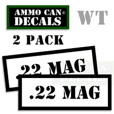 22 MAG Ammo Decal Sticker bullet ARMY Gun Can Box safety Hunting 2 pack WT