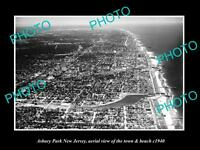 OLD HISTORIC PHOTO OF ASBURY PARK NEW JERSEY, AERIAL VIEW OF THE BEACH c1940 2