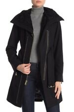 $280 New women's GUESS black long belted wool coat jacket M