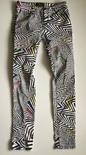 Abbey Dawn Avril Lavigne women's  juniors Sz 1 jeans rocker printed Neon Stripes