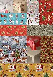 CHRISTMAS OCCASIONS VINYL PVC OIL TABLE CLOTH COVER RED SILVER SANTA CLEAR