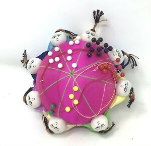 """Vintage 4.5"""" Oriental Chinese Asian Silk Round 8 Doll Figures Pin Cushion W/Pins"""