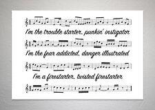 The Prodigy - Firestarter - Song Sheet Print Poster Art