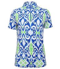 New listing IBKUL Sweat LESS Doreen Blue Zip Mock Neck Short Sleeve Zip Top Shirt UPF 50 S