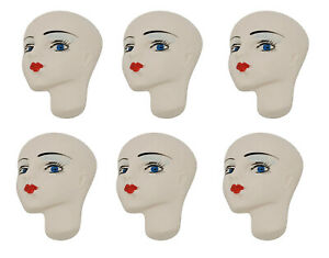 Lot of 6 Blue Eyed Lady Resin Deco Face Head for Craft Jewelry Cameo Brooch VTG