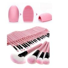 Pink Makeup Wooden Brush Set Kit 32 pcs with Roll Up Case & Brush Cleaning Tool