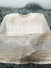 KOOKAI WOMENS TOP CROP OVERLAY POLY LINED WHITE BEIGE Zip Back SZ 34