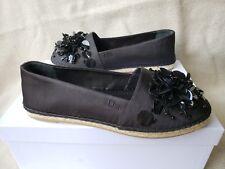 NIB Christian Dior Flat Loafer Espadrille Black Canvas 39 Sunset Sequin Flower