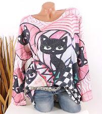 Pullover Damen Strickpullover Tunika Strass Oversize 40 42 44 rosa Oberteil