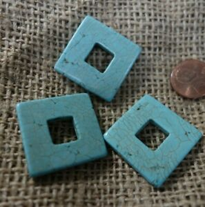 3   Vintage  DECO   ART Glass   Jewelry pieces  TURQUOISE colored  CABOCHONS