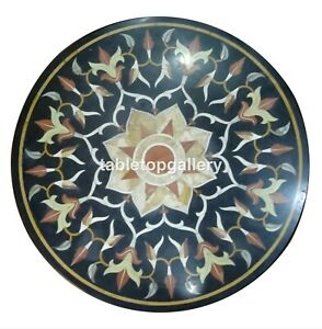 """24"""" Round Marble Top Coffee Table Precious Floral Art Inlay Furniture Decor B130"""