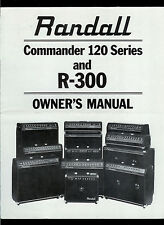Randall Instruments RB/RG-120 & R-300 Guitar Amplifier Mixer Orig Owner's Manual