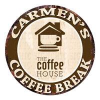 CWCB-0111 CARMEN'S COFFEE BREAK Chic Tin Sign Decor Gift Ideas