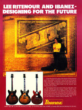 """1981 Jazz Guitarist Lee Ritenour photo """"For the Future"""" Ibanez Guitars print ad"""