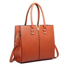 Women Structure Faux Leather Shoulder Handbag Tote Bag Satchel Plain Brown