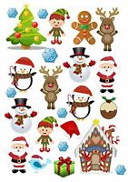 24 icing cupcake cake toppers decorations edible Xmas Christmas Santa elf images