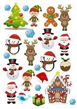24 icing cupcake cake toppers decorations edible xmas christmas santa elf images