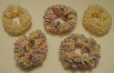 NEW LOT OF 5 HANDMADE CROCHET HAIR SCRUNCHIES SET YELLOW PURPLE PINK