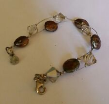 Coin Pearl & Crystals, Sterling Bracelet