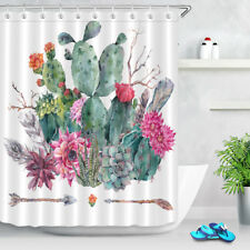 Cactus Floral Boho Blossoms Fabric Shower Curtain Waterproof Bath accessory Set