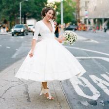 Cheap Short Wedding Dresses Bridal Gowns Half Sleeves Tea Length Deep V Neck