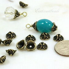 Lily Bead Caps, 8 mm, TierraCast, Antiqued  Brass, 10 Pieces, 0427