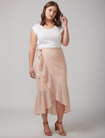 Lane Bryant Asymmetrical Ruffle Skirt Womens Plus 22/24 Cameo Rose 3x