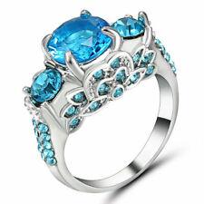 Size 7 sapphire Gems Crystal Wedding Ring Women's 10Kt White Rhodium filled