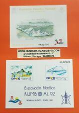 2 PRUEBAS DE LUJO España 1991 EDIFIL Nº 23 y 24 EXFILNA 91 y RUMBO A SEVILLA 92