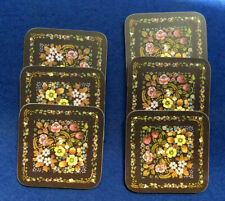 "Set of 6 Clover Leaf melamine coasters, Pandora design, boxed, 4"" / 10.5 cm sq"
