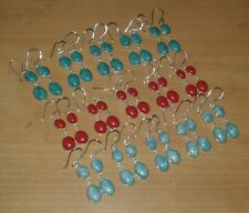 Wholesale Lot 15 Pcs Turquoise,Larimar & Coral Gems Silver Plated Dangle Earring
