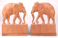 Vintage Pair of Hand Carved Wood Elephant Bookends Pachyderm Wild Animal-Hinged