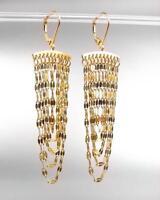 CHIC Urban Artisanal Multistrands Gold Link Chains Leverback Tassel Earrings