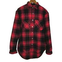 Men's Long Sleeve Casual Check Print Smart Cotton Work Flannel Plaid Shirt Red.