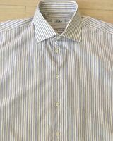 Belvest Sz 17 43 Mens Dress Shirt Spread Collar Blue Striped EUC Made In Italy