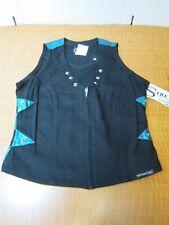 Western Ethics Ladies Vintage Black//Green Stretch Zip Up Vest W// Silver Studs L