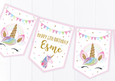 Personalised Unicorn Happy Birthday Bunting, Children's Party Decoration Banner