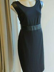 CHARLIE BROWN Dress V Back Black Sz 16 Stretchy Faux Leather Trim Unworn