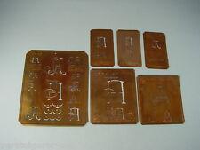 6 x JA alte Merkenthaler Monogramme, Kupfer Schablonen, Stencils, Patrons broder