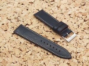 Genuine Italian Leather QR Watch Strap 24mm Navy Blue by Watchgecko / Geckota