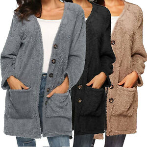 Ladies Coat Fleece Cardigan Fluffy Button Warmer Jacket Over Size Outerwear New
