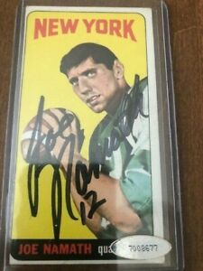 joe namath signed certified 1965 topps rc