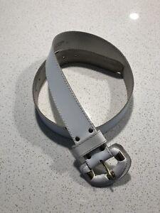 Vintage White Leather Belt