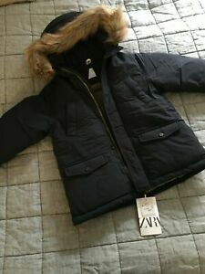 Boys ZARA feather&down puffer jacket coat padded parka 4-5y navy blue fur hood