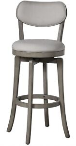 Sloan Fabric Upholstered Swivel Counter Stool in Aged Gray by Hillsdale - NIB